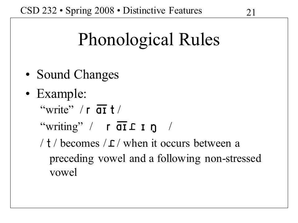 Phonological Rules Sound Changes Example: write /re]t/